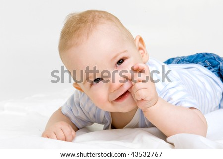adorable baby on white background