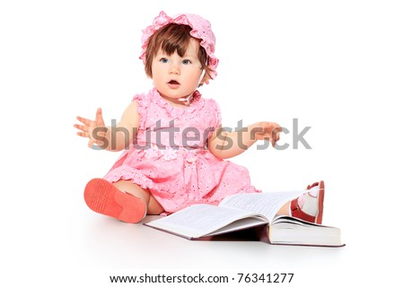 adorable baby reading a book. isolated on white. - stock photo