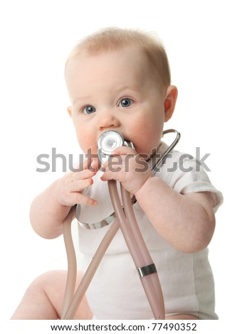 Adorable baby sitting up wearing and playing with a medical stethoscope, isolated on white - stock photo