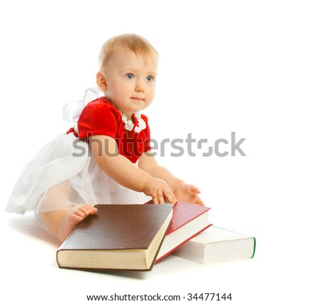 Adorable baby sitting with thick books, isolated, over white