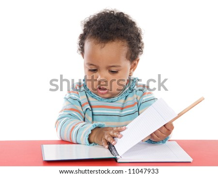 adorable baby studying a over white background - stock photo