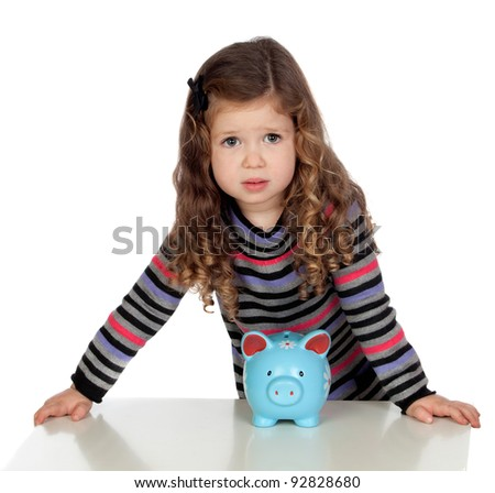 Adorable baby with a blue money-box isolated over white background - stock photo