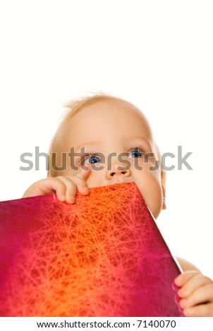 Adorable baby with a gift box isolated on white background - stock photo