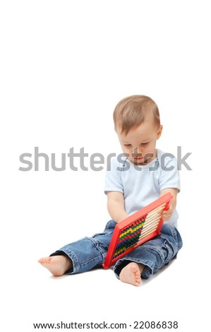 adorable baby with abacus - stock photo