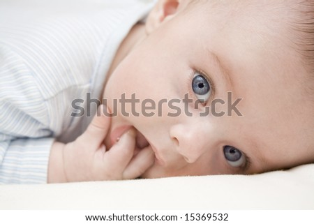 adorable baby with blue eyes - stock photo