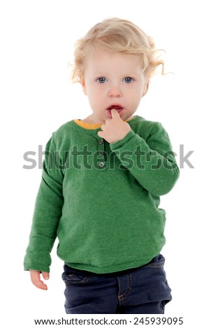 adorable baby with finger in mouth isolated on a white background - stock photo