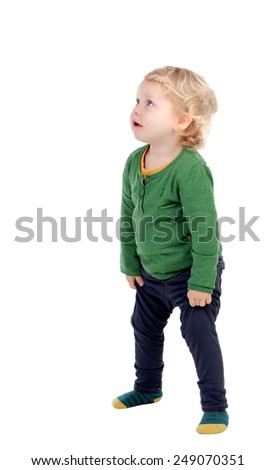 Adorable blonde baby looking up isolated on a white background - stock photo
