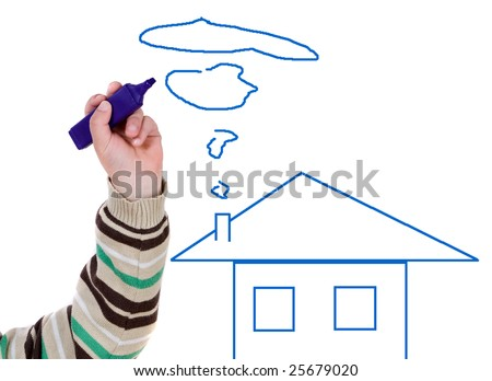 Adorable boy drawing a house on a over white background