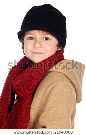 Adorable boy dress for the winter a over white background - stock photo