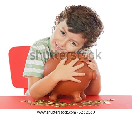 adorable boy putting its savings in your money box - stock photo