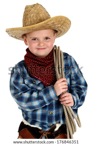 adorable boy wearing cowboy hat holding rope