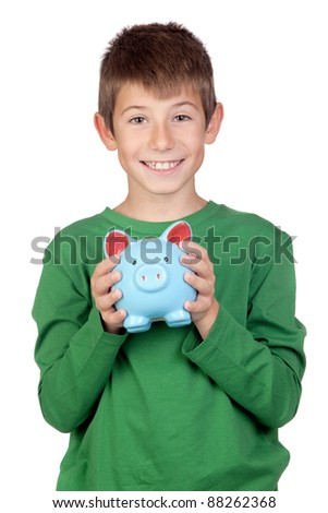 Adorable boy with a blue moneybox isolated on a over white background - stock photo