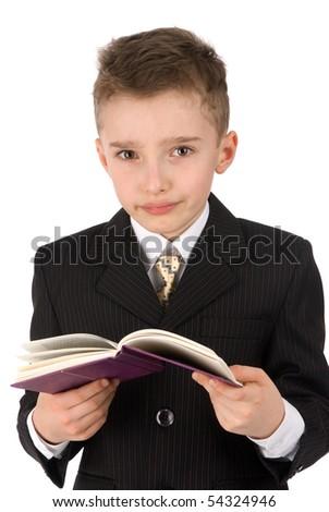 adorable boy with a book - stock photo
