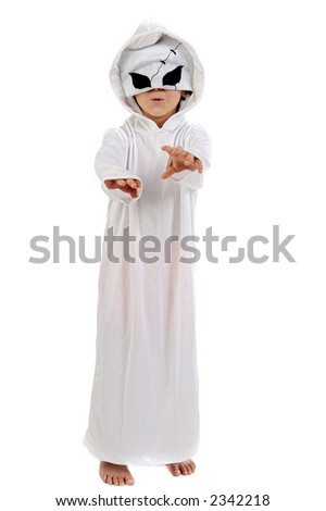adorable boy with a ghost disguise a over white background - stock photo