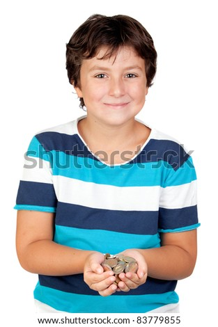 Adorable boy with a lot of coins isolated on white background - stock photo