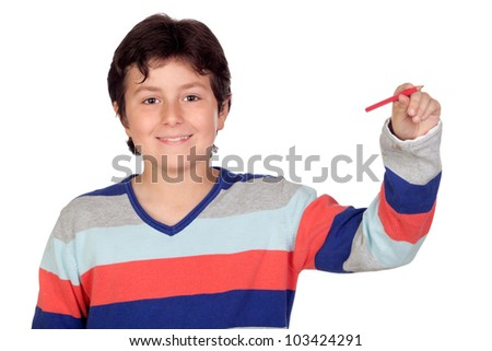 Adorable boy with a red pencil isolated on a over white background