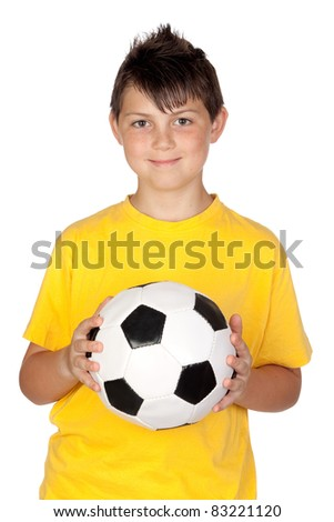 Adorable boy with a soccer ball isolated on white background - stock photo