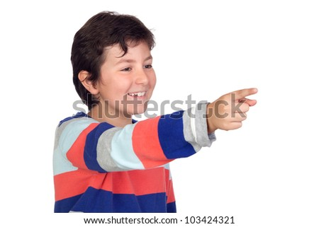 Adorable boy with a striped jersey pointing isolated on a over white background - stock photo
