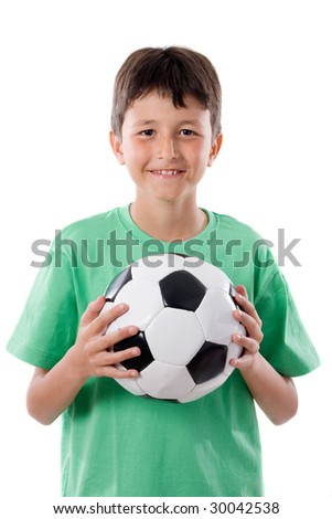 adorable boy with ball a over white background - stock photo