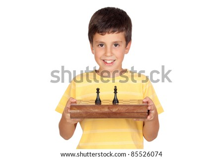 Adorable boy with chessboard isolated on a over white background - stock photo