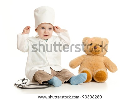 Adorable boy with clothes of doctor isolated on white - stock photo