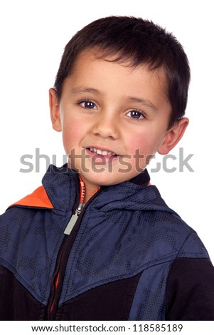 Adorable boy with dark eyes isolated on white background