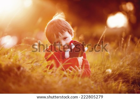 Adorable boy with his teddy friend, sitting on a lawn, sunset time - stock photo