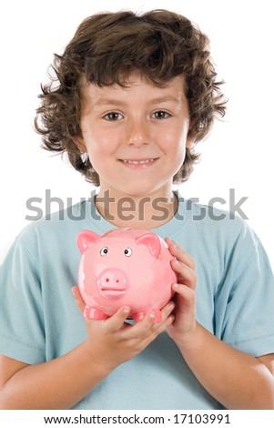 Adorable boy with pink piggy bank in his hands - stock photo