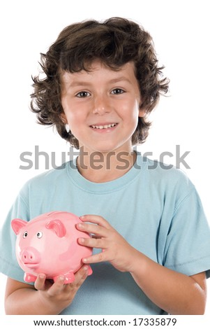 Adorable boy with pink piggy bank in his hands a over white background - stock photo