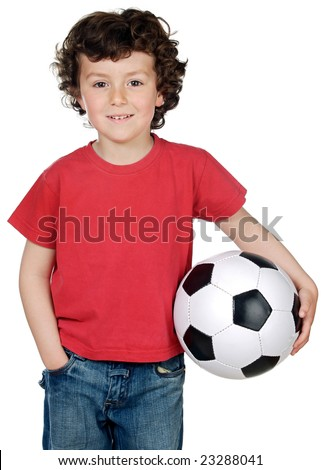 Adorable boy with soccerball isolated over white - stock photo