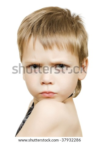 Adorable boy with upset expression, no shirt, isolated over white - stock photo