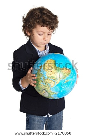 adorable boy worried about the planet earth over white background