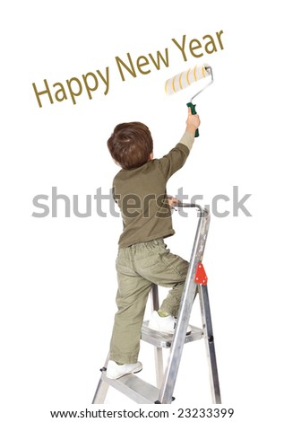 Adorable boy writing Happy New Year on a over white background - stock photo