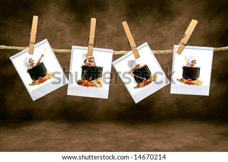 Adorable Chef Babies on instant photo Film Hanging on a Rope
