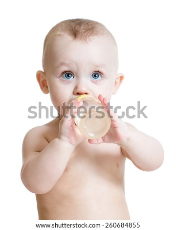 adorable child boy drinking water from bottle - stock photo