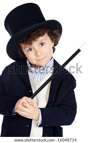 Adorable child dress of illusionist with hat a over white background - stock photo