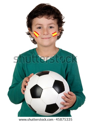 Adorable child follower of Spanish Selection with his face painted - stock photo