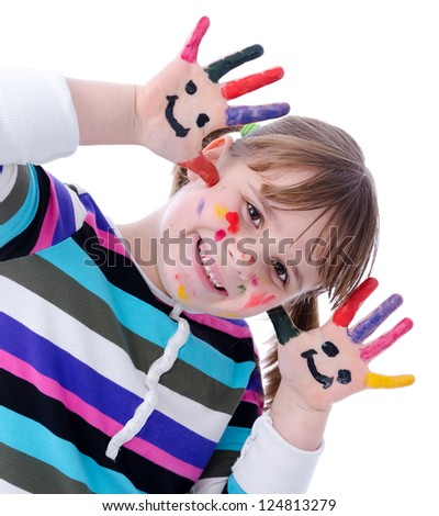 Adorable child girl have paint with painting - stock photo