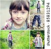 Adorable child girl indian summer time collage, set of 5 pictures - stock photo