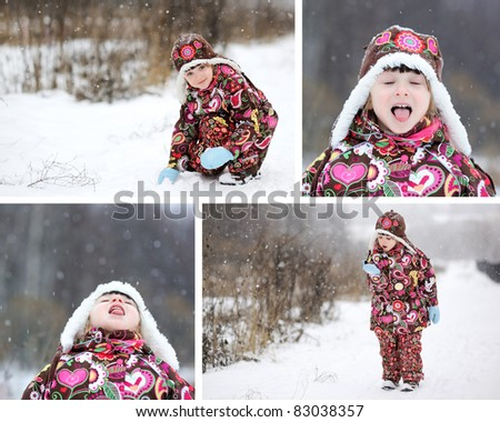 Adorable child girl winter time collage, set of 4 pictures