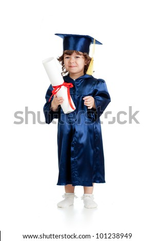 Adorable child in academician clothes with roll - stock photo