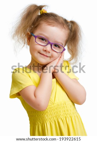 Adorable child in glasses isolated on white - stock photo