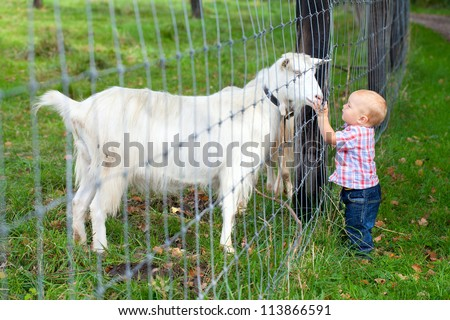 adorable child is cuddling a goat through the fence - stock photo