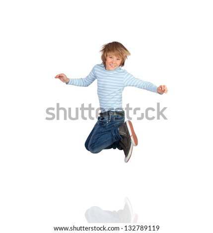 Adorable child jumping isolated on a white background - stock photo