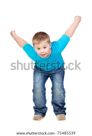 Adorable child jumping isolated on white background - stock photo