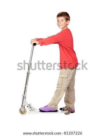 Adorable child on skateboard isolated on white background - stock photo