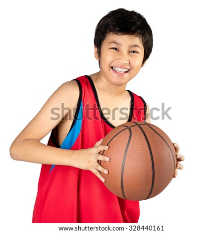 Adorable child playing the basketball, Isolated over white - stock photo