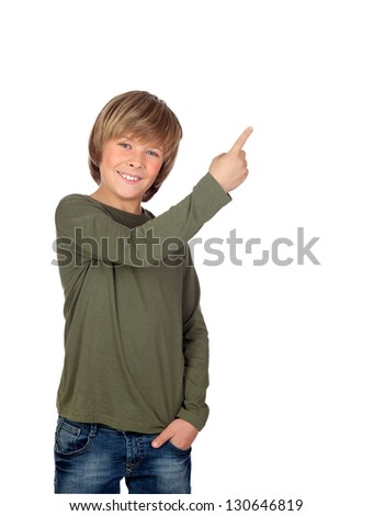 Adorable child pointing something isolated on a over white background - stock photo