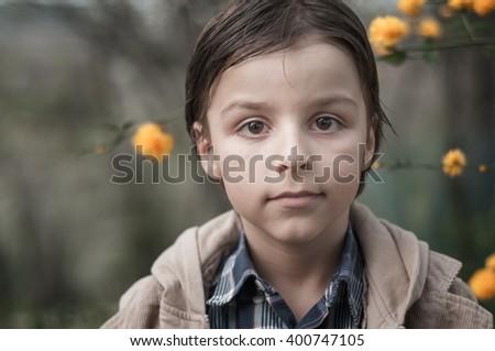 adorable child portrait - stock photo