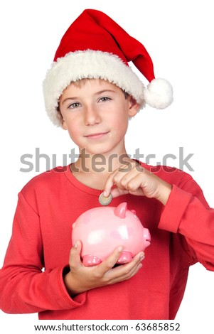 Adorable child saving with Santa Hat isolated on white background